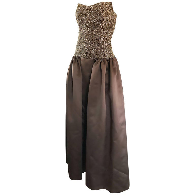 Vintage Bob Mackie Size 10 Chocolate Brown Beaded Strapless Evening ...