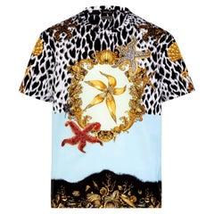 Versace Blue Tresor de la Mer Tribute Rhinestone Print Cotton T-shirt, c 1992