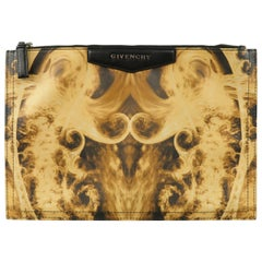 GIVENCHY Beige & Black Flame Print Coated Canvas Antigona Clutch Zip Pouch