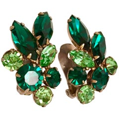 60'S Gold & Green Swarovski Crystal Abstract Flower Earrings