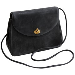 Vintage Asprey London Shoulder Bag Convertible Clutch Black Suede Leather 70s