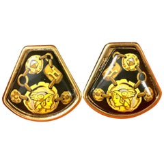 Vintage Hermes cloisonne golden earrings with black, yellow chain, stud, H print