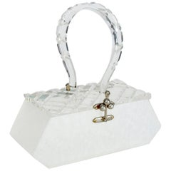 Florida Handbags Carved Lucite Box Purse, 1950s