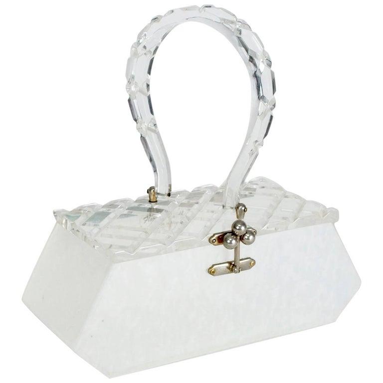 Florida Handbags Carved Lucite Box Purse, 1950s