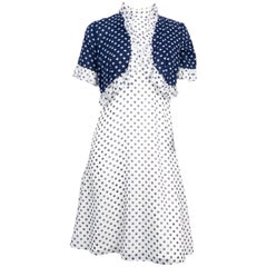 1960s Lord and Taylor Blue and White Polkadot Dress With Bolero