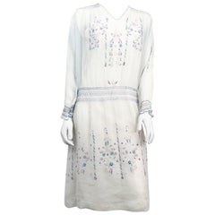 1920s White Cottage Dress with Hand-embroidery and Pull-work