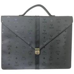 Vintage MCM black monogram briefcase, business bag, document bag. Michael Cromer