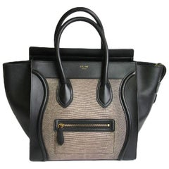 CELINE Luggage Micro in Black Leather and Lizard