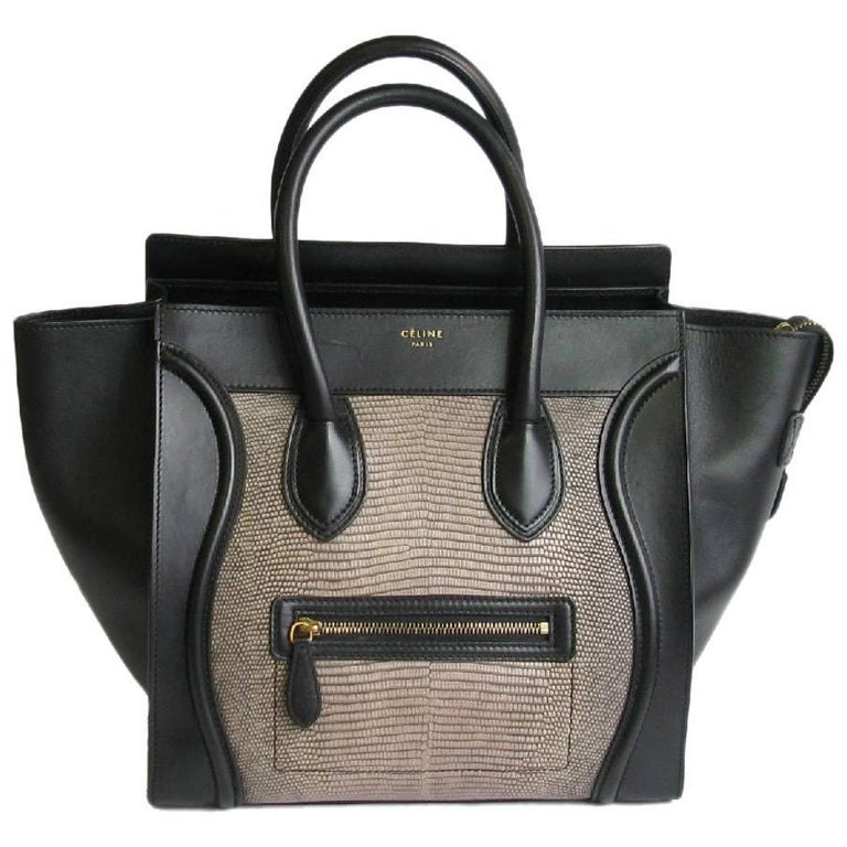 9d087ce015 CELINE Rare Luggage Bag Mini Model in Black Leather and Lizard For Sale at  1stdibs
