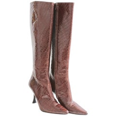 Charles Jourdan Croc Embossed Glossy Leather Boots Knee High Size 8.5M