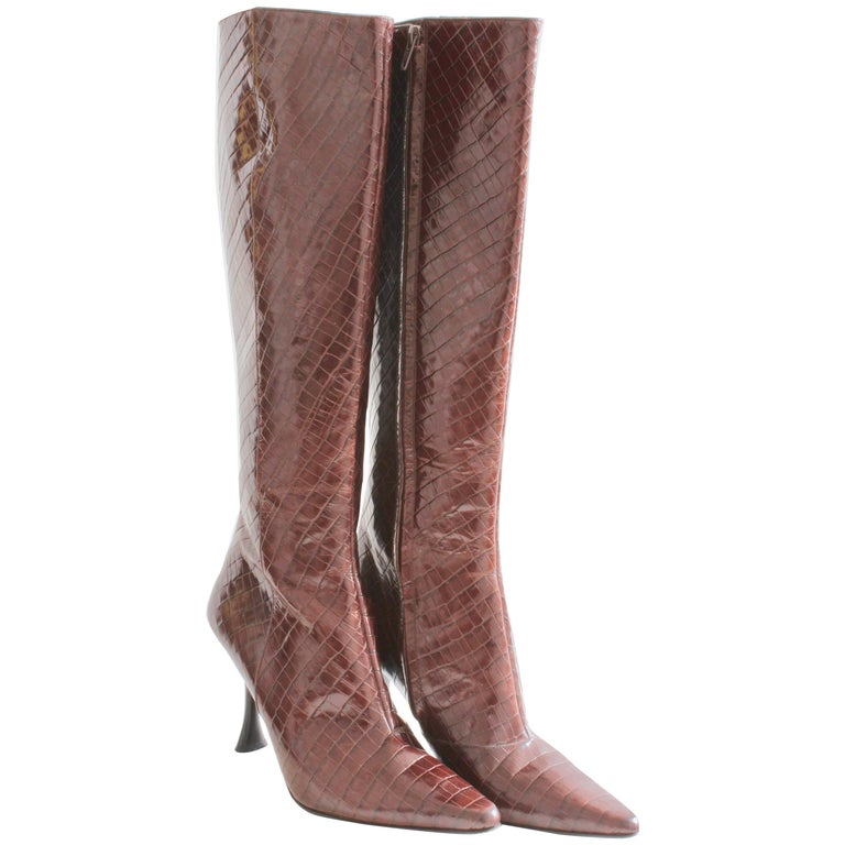 e4891d00227 Charles Jourdan Croc Embossed Glossy Leather Boots Knee High Size 8.5M