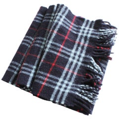 Burberrys London Lambswool Scarf Blue Red White Plaid Check with Fringe