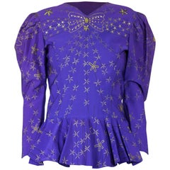 Zandra Rhodes hand painted fitted peplum top with rhinestones. circa 1980s