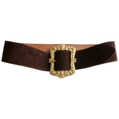 Mulberry Company England Wide Belt Large Gold Buckle Brown Suede Leather Sz 32
