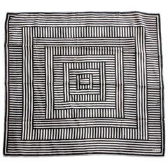 Vera Neumann Silk Scarf Shawl Black & White Op Art Abstract Print 31in 1970s