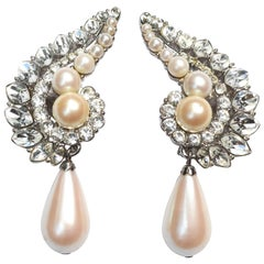 Yves Saint Laurent YSL Rhinestone Pearl Earrings / Ear Huggers