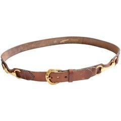 Saks Fifth Avenue Belt Saddle Leather Brass Horse Bit Equestrian Sz 30 1970s