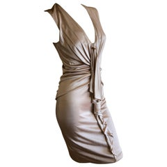 Gucci by Tom Ford Rose Gold Gathered Sleeveless Cocktail Dress