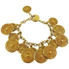 Yves Saint Laurent YSL Vintage Gold Toned Ethnic Aztec Pattern Charm Bracelet