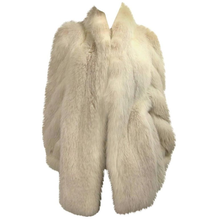 1990s White Fox Fur Jacket Swirl Sleeves