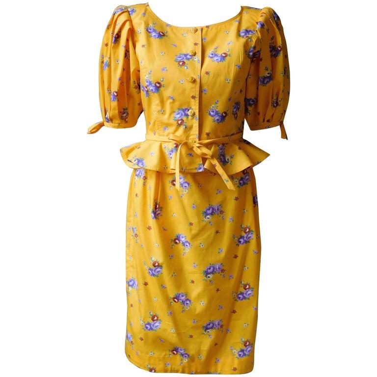 Ungaro  Yello Floral Print Peplum Waist Skirt and Top Ensemble