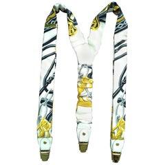 RARE Hermès Vintage Adjustable Suspenders Brides de Gala Silk Golden Hdw