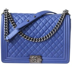 Chanel Boy Blue Large Flap Quilted Grained Calfskin Bag