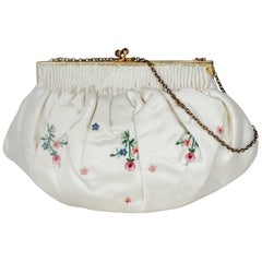 Denise Francelle Paris Tambour Embroidery Evening Bag, 1960s