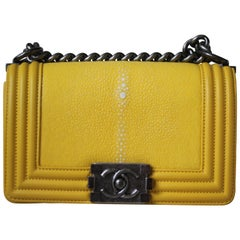 Chanel Boy Small Yellow Shagreen Flap Bag