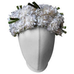 1960's Maison de Bonneterie Hat Fully covered in Small White Silk Flowers