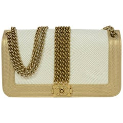 Chanel Cream and Gold Quilted Leather Rock Boy Flap Bag, 2013