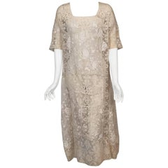 1920's Hand Made Mixed Lace and Embroidered Dress Rare Larger Size