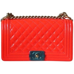 Chanel Boy Quilted Orange Patent Medium Flap Bag