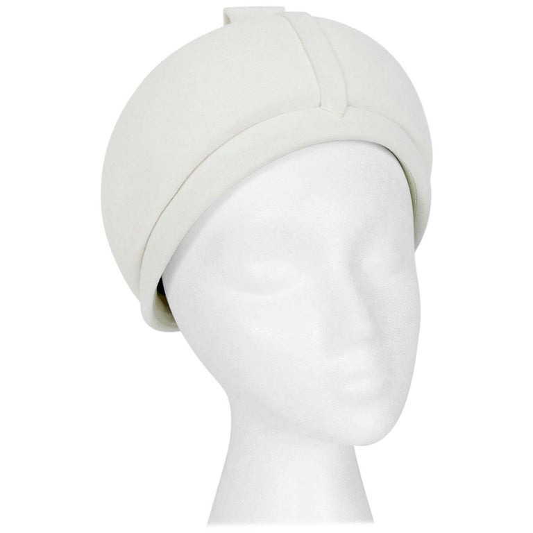 Mod Ivory Wool Bubble Hat - Marshall Field French Room, 1960s