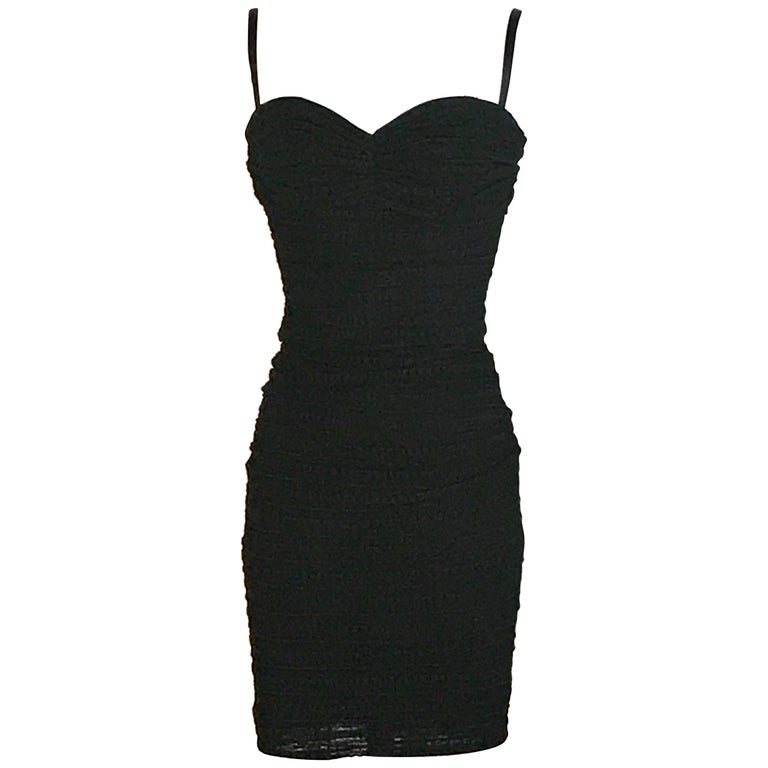 Dolce & Gabbana Black Textured Fitted Bustier Top Cocktail Dress