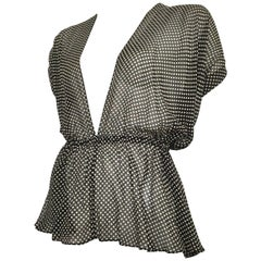 Yves Saint Laurent 1980s Black & White Silk Polka Dot Halter Blouse Size 4/6.