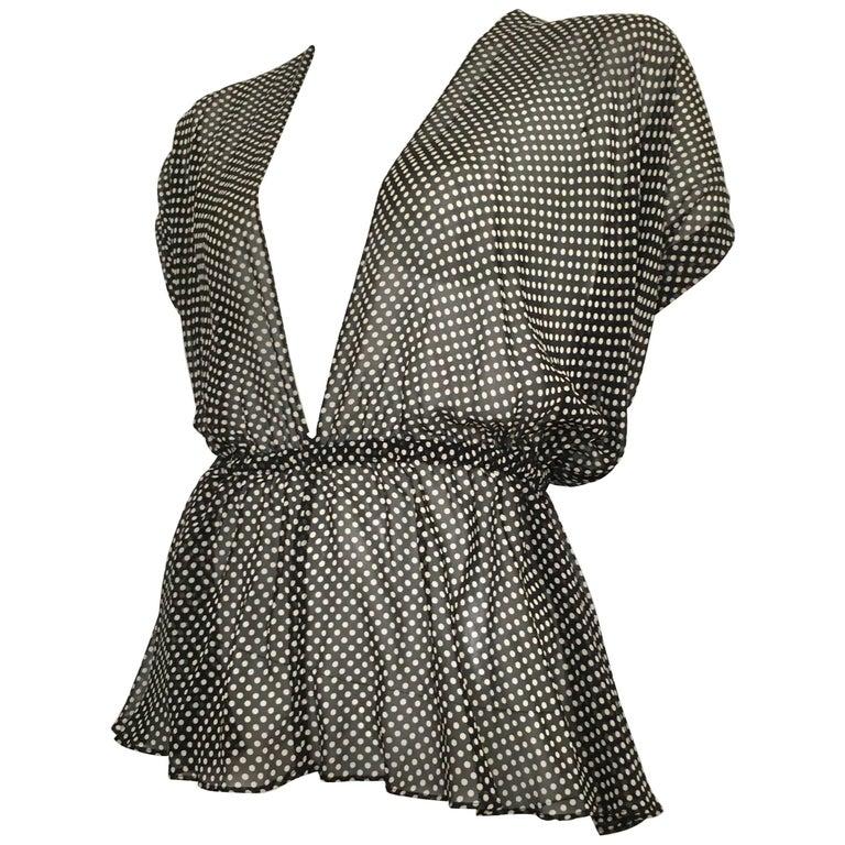 Yves Saint Laurent 1980s Black & White Silk Polka Dot Halter Blouse Size 4/6.