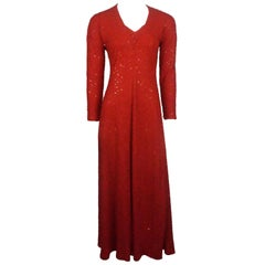 Naeem Khan Red Fully Beaded Long Sleeve Gown
