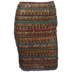 Oscar De La Renta Multi Colored Beaded Stone Skirt - Small