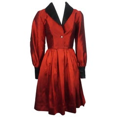 James Purcell Red and Black Silk L/S Gem Button Dress - 4