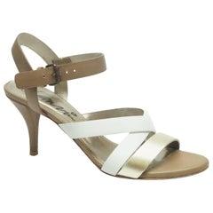 Lanvin Brown / White / Metallic Gold Strappy Heel