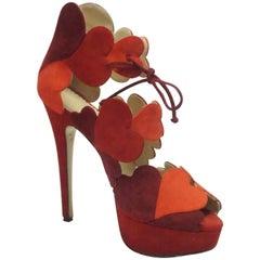 Charlotte Olympia Red & Orange Suede High Heel w/ Heart Details - 37