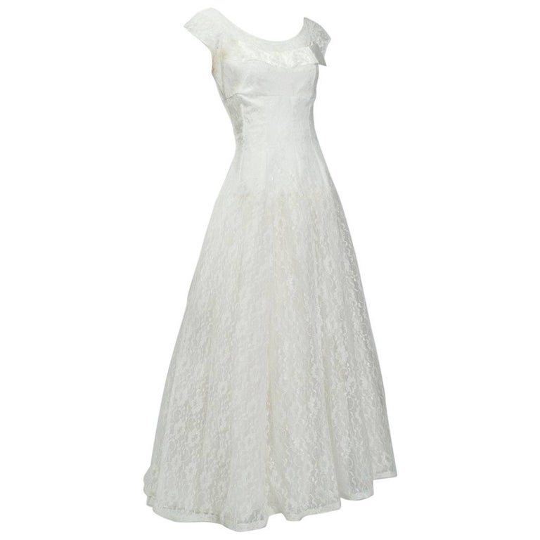 Drop Sleeve Wedding Gowns With: Drop-waist Ivory Lace Cap Sleeve Wedding Gown, 1950s For