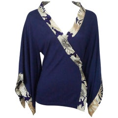Roberto Cavalli Navy Knit Silk Cashmere Top