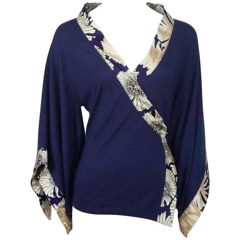 Roberto Cavalli Navy Knit Silk Cashmere Top