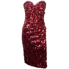 Dolce & Gabbana Red Strapless Paillette Dress - 44
