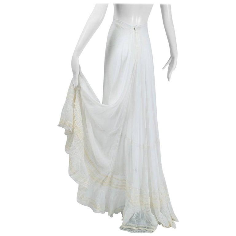 Victorian White Batiste Bustle Petticoat with Train, 1890s