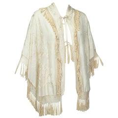 Edwardian Canton Silk Embroidered Wedding Shawl, 1900s