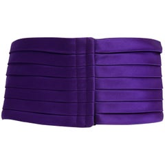 1970s Yves Saint Laurent Purple Pleated Silk Wide Cummerbund Belt