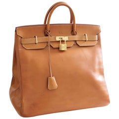 Hermes Haut A Courroies HAC 45cm Vache Natural Leather Travel Birkin Bag